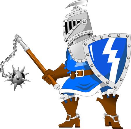 halberd: Fighting knights with swords shield helmet army uniform; vector illustration