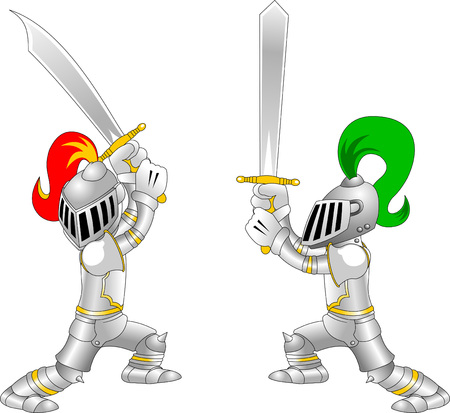 halberd: Fighting knights with swords shield helmet army uniform, vector illustration cartoon