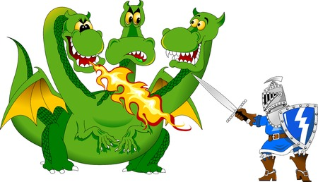 Knight attacks the fire-breathing dragon, vector