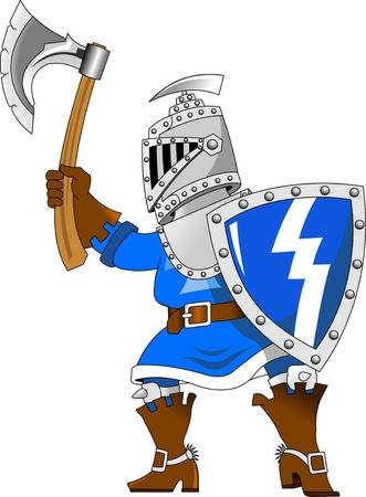 kingdom: knight in blue uniform with an ax, vector