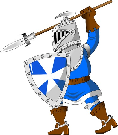 knight in blue uniform with a spear, vector Illustration