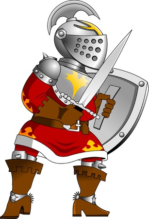 royal guard: knight in red uniform with a sword, vector