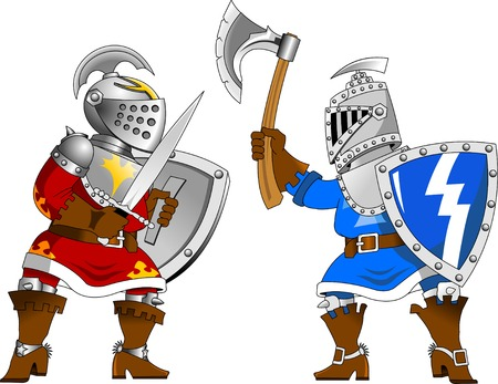 royal guard: Two knights in red and blue uniforms fighting Illustration