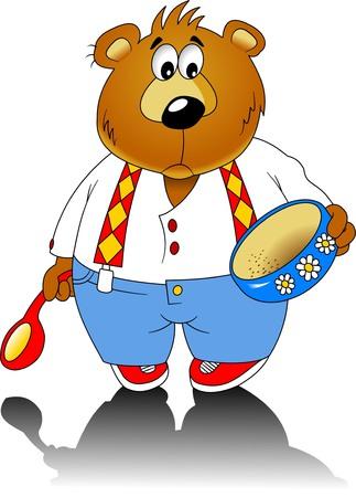 empty plate: Little sad teddy bear with an empty plate, vector Illustration