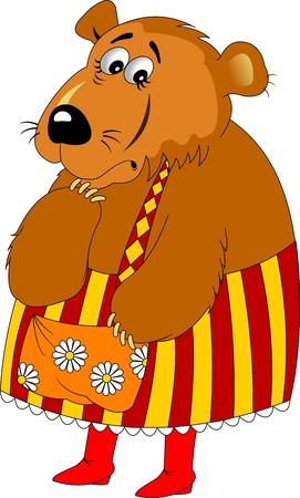 mama: Mama Bear in color apron and red boots, vector