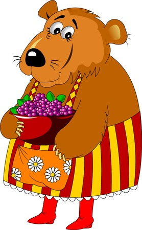 mama: Mama Bear in color apron and red boots; Illustration
