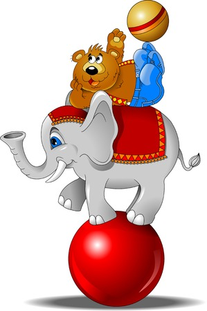 circus performer: elephant and bear juggling the ball at the circus