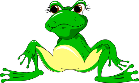 eye pad: Big green frog on a white background, vector