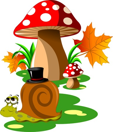 psychoactive: two red mushroom with white spots and a snail Illustration