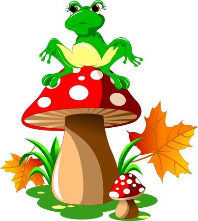 flor caricatura: rana verde sentado en un sombrero de hongo rojo, vector