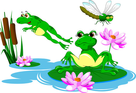 lilies: Two green frog swimming in a blue pond, vector Illustration