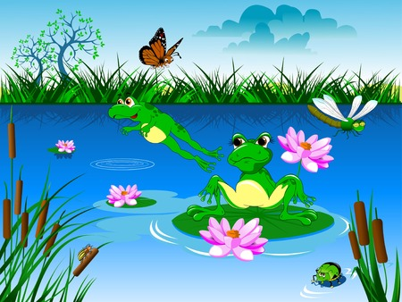 dessin fleur: Deux vert natation grenouille dans un �tang bleu, vecteur