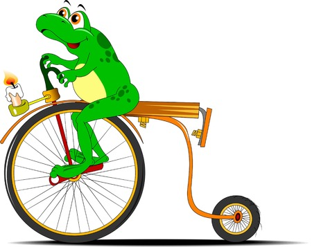 circuit brake: funny frog traveling on the old bike, vector