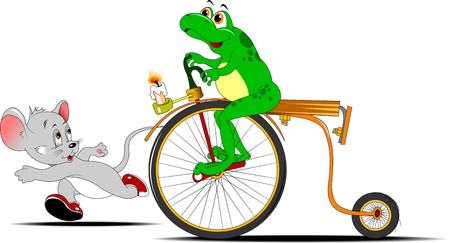 original bike: frog on a bike competing in the race with a small little mouse Illustration