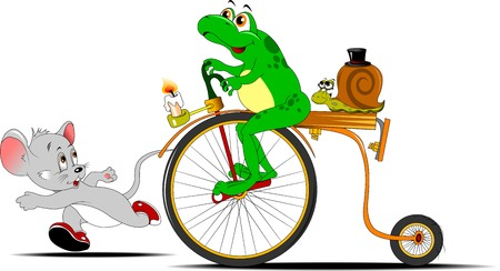 frog on a bike competing in the race with a small little mouse; Illustration