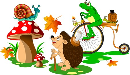 cartoon hedgehog: urchin, snail and frog walking in a forest glade Illustration
