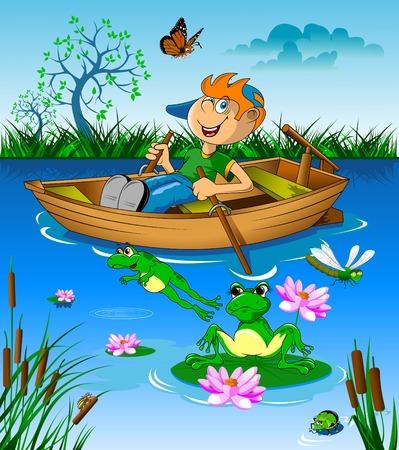 El pequeño niño montado en un barco en el río, vector