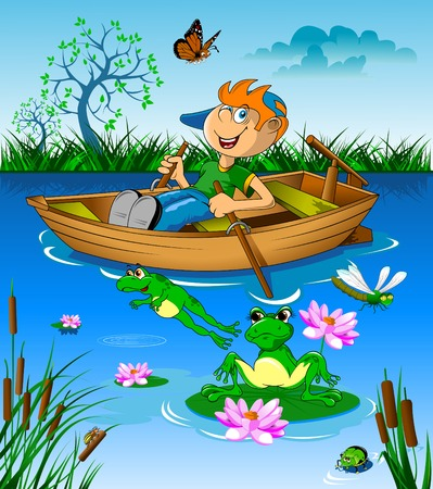 water weed: Little boy riding a boat on the river, vector Illustration