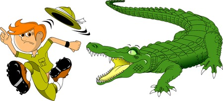 hunter: Hunter escapes from a huge scary crocodile Illustration