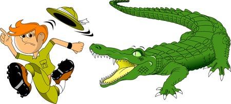 crocodile: Hunter escapes from a huge scary crocodile Illustration
