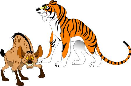 sumatran: big tiger and angry hyena went out hunting