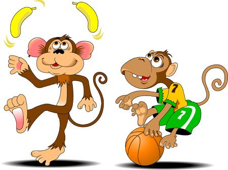 animaux: drôle jonglage de singe deux bananes jaunes