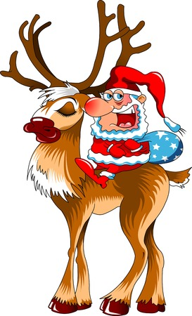 christmas cartoon: christmas illustration of santa claus and red nosed reindeer