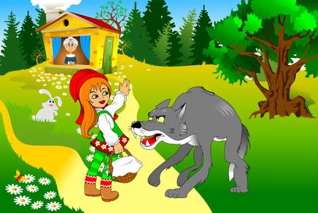 Little Red Riding Hood meeting a wolf, illustration Иллюстрация
