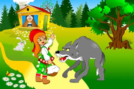 Little Red Riding Hood Treffen ein Wolf, illustration Standard-Bild - 53552777