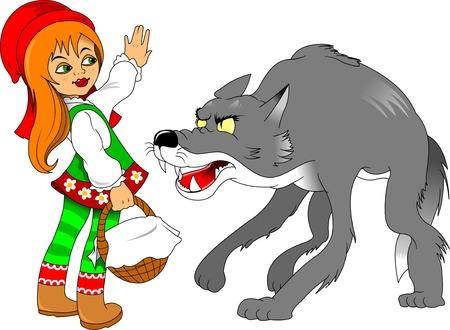 rot: Little Red Riding Hood Treffen ein Wolf, illustration