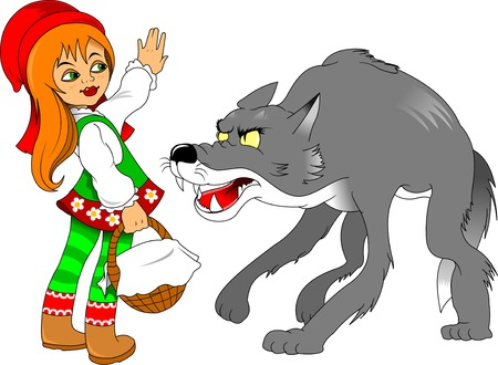 Little Red Riding Hood meeting a wolf, illustration Illustration