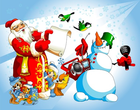 Illustration for Christmas and New Year. Santa Claus.