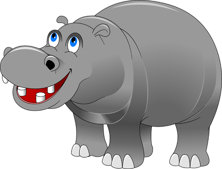 thick forest: cheerful grey hippo on a white background, and illustration Illustration