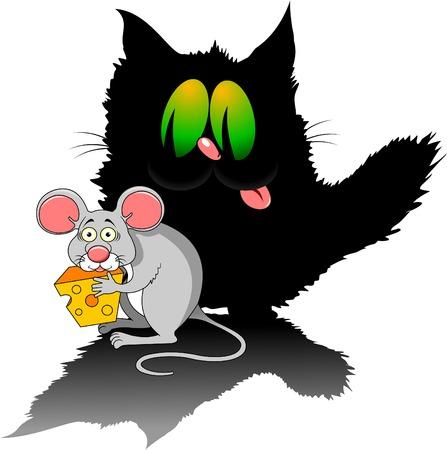 raton: ratón gris moderno con un gran trozo de queso y el gato