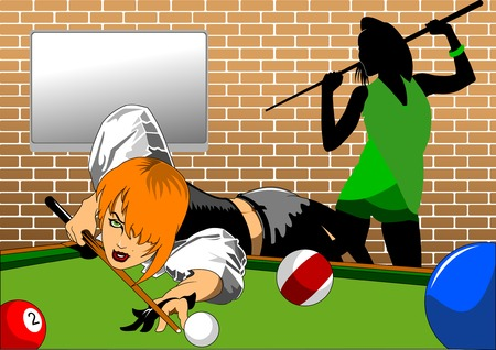 black woman: woman in black shorts and black top playing billiards Illustration