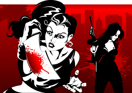fear: man and woman in black suits with a weapon, vector, illustration