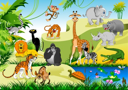 tiger lily: large group of animals in the green jungles, vector and illustration Illustration