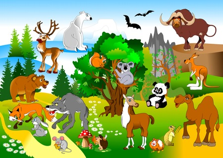large group of animals: large group of animals in the green forest, vector and illustration