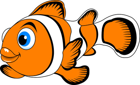 clown fish: cheerful clown fish swimming in the ocean, vector Illustration