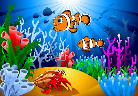 Złoty ryb i rozgwiazdy na dnie oceanu, w tym koralowców