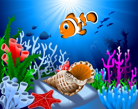ocean floor: gold fish and starfish on the ocean floor, including coral