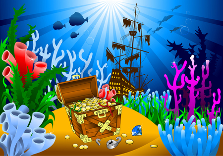 undersea: huge treasure chest on the bottom of the sea, vector