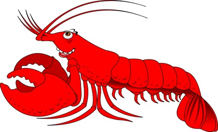 crawfish: cheerful red lobster on a white background, vector