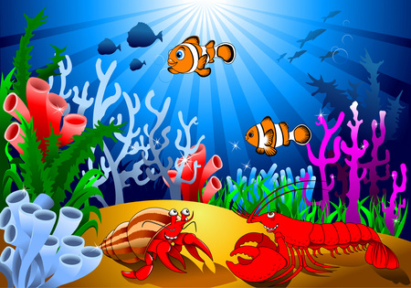 subaquatic: meeting of two cheerful crayfish on the ocean floor, vector; Illustration