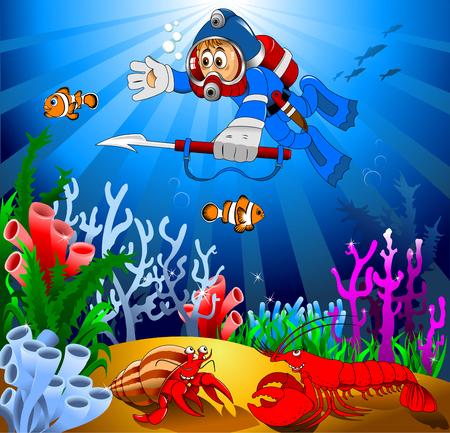 boy swim: cartoon diver boy surprised face on the deep sea