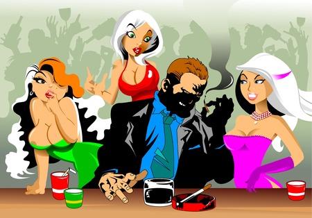 Drei schöne Mädchen mit einem Mann in einer Bar flirten Standard-Bild - 64951935