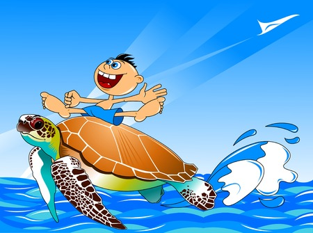 swims: large sea turtle swims through the sea with the boy on the shell