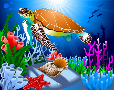 baby turtle: big beautiful sea turtle swimming in the sea, vector Illustration
