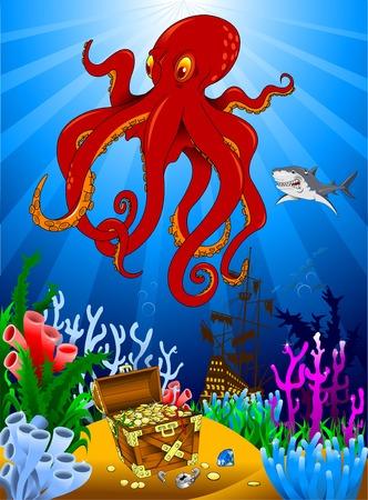guarding: great evil octopus pirate guarding a treasure, vector