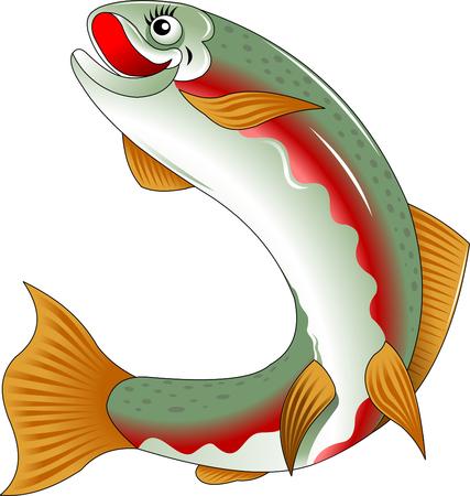 beautiful salmon fish swims the sea, vector and illustration